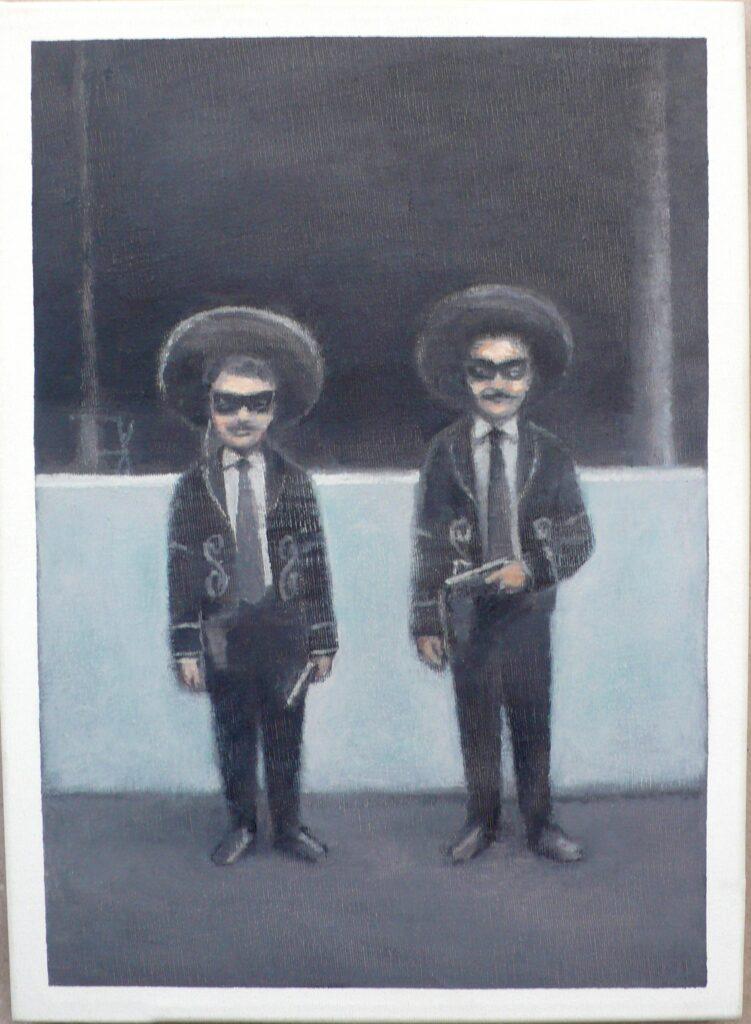 Giulio y Luciano de Carnaval, oleo-lienzo 33x24 cm
