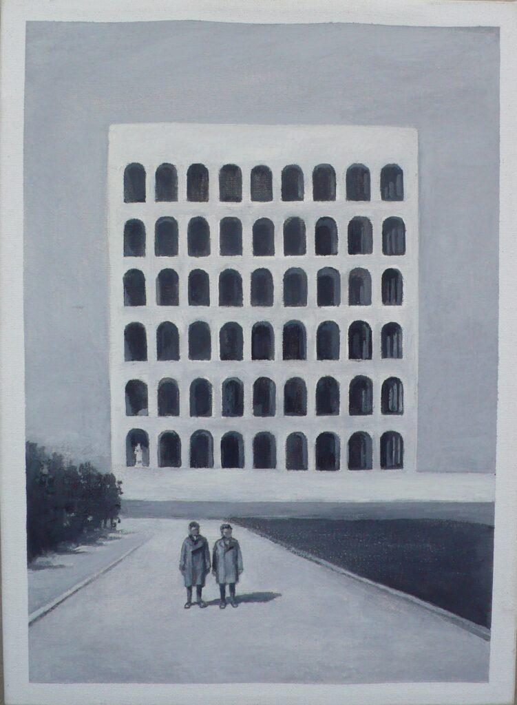 Giulio y Luciano en el EUR oleo-lienzo 33x24 cm