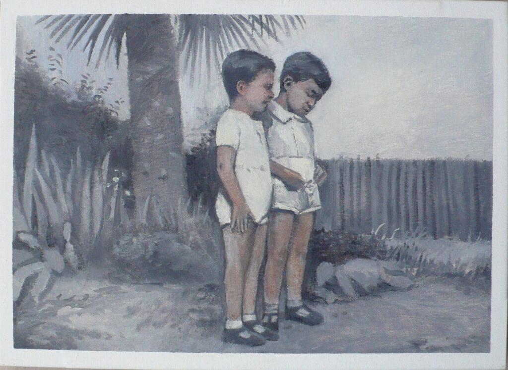 Giulio y Luciano en el campo, oleo-lienzo 24x33cm
