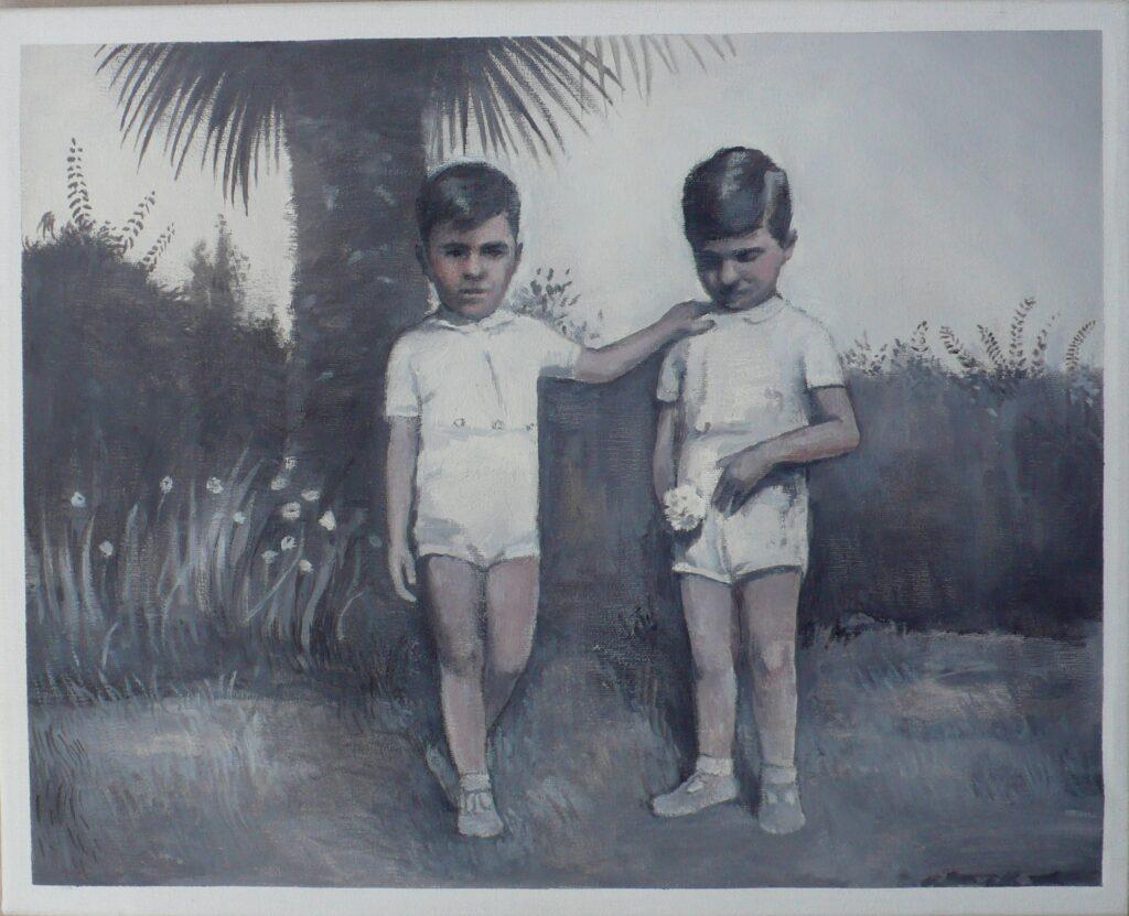 Giulio y Luciano junto a palmera, oleo-lienzo, 33x41 cm