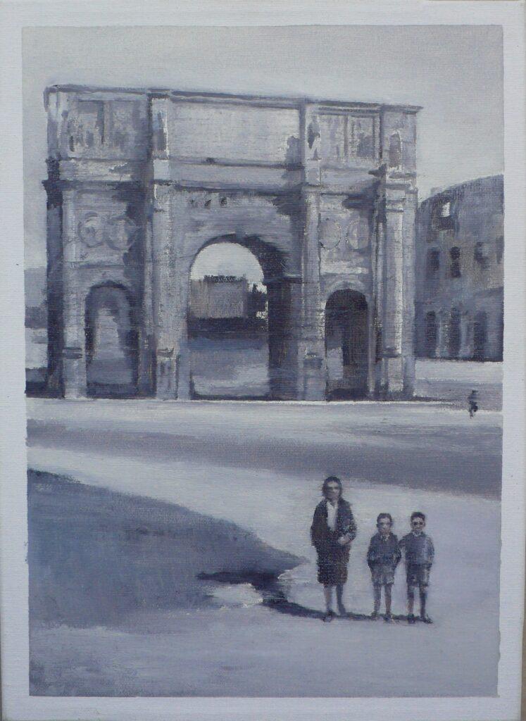 Giulio y Luciano junto al Arco de Constantino, oleo-lienzo 33x24 cm