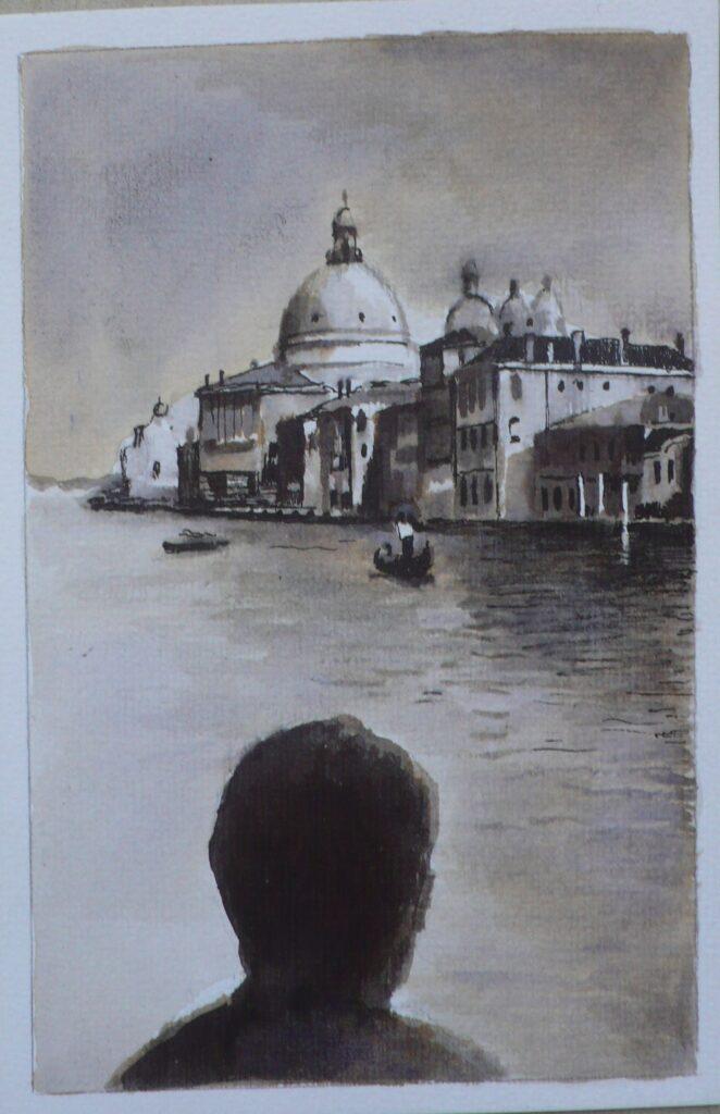 Gran Canal, tinta sobre papel 14,5x9,5 cm