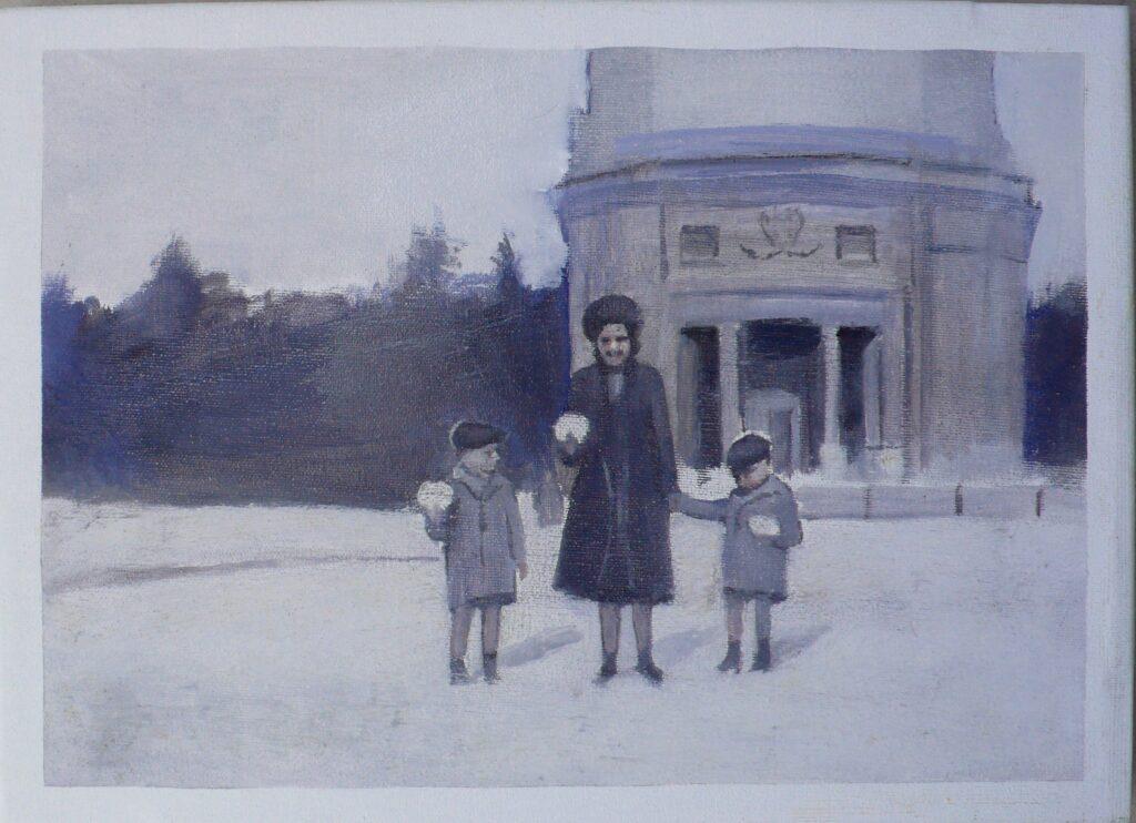 Nieve en Villa Borghese, oleo-lienzo 24x33 cm