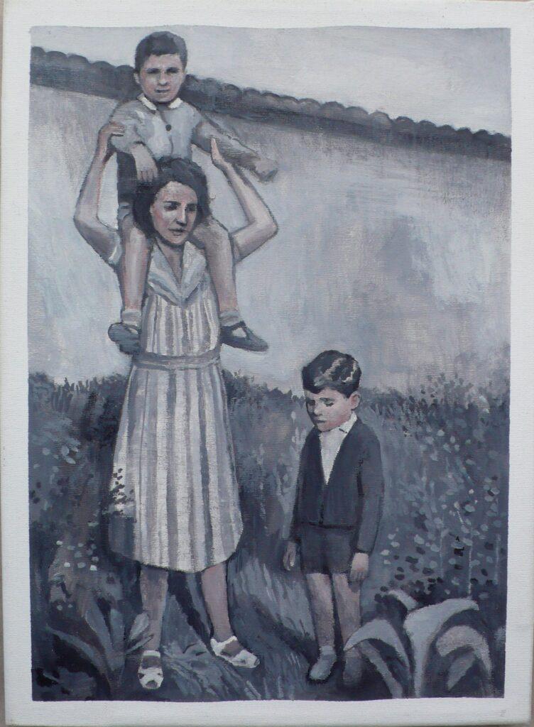 giulio y Luciano con su madre en el campo, oleo-lienzo 33x24 cm