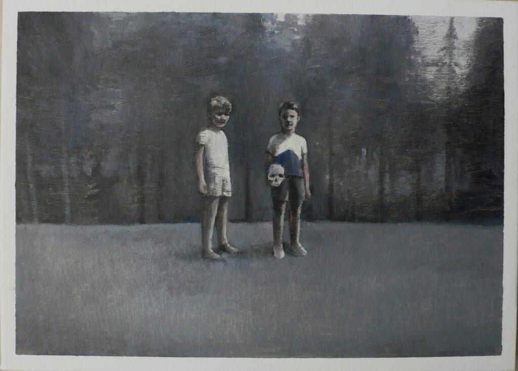 giulio y Luciano en el bosque, oleo-lienzo 24x33cm