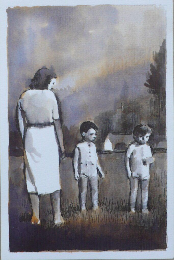 paseo por el campo, tinta sobre papel, 14,5x9,5 cm