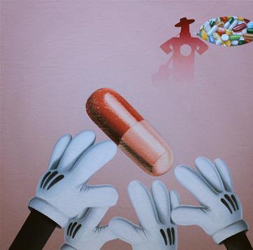 Juan Cuella Flamenco Pills óleo/lienzo 50x50 cm.