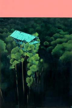 Greta Chicheri    Casa en los árboles, 2013,  acrílico /lienzo ,97x146 cm.