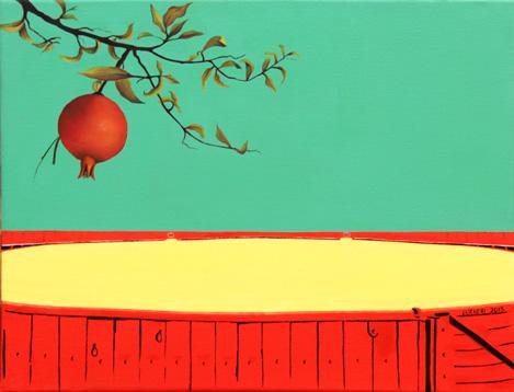 Greta Chicheri, Ruedo vacío y granada, 2013, T/M, 35X27 cm.