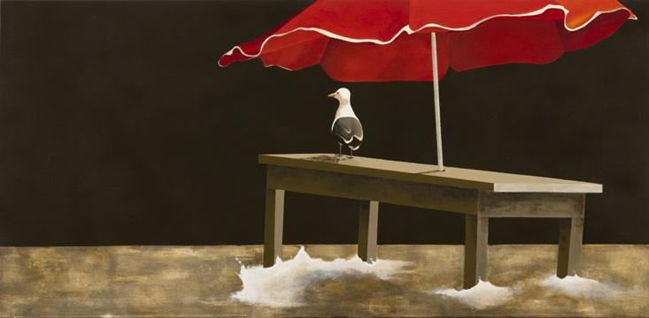 Gaviota en el muelle, 2011 Acrílico sobre lienzo, 140X70 cm.