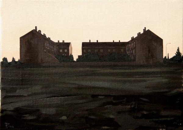 Comunidad de vecinos - óleo/lienzo 33 x 46 cm.