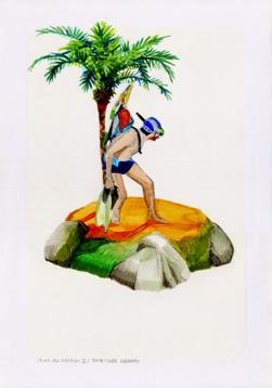 Islas del Paraíso II, 2014 Tinta y grafito sobre papel  34 x 25 cm