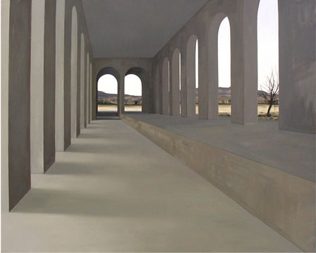 Arquitectura con paisaje - óleo/lienzo 162 x 200  cm.