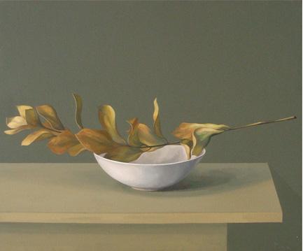 Rama seca en un plato - óleo/lienzo 54 x 65 cm.