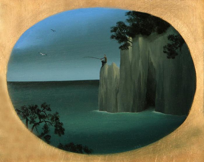 El pescador  - Óleo sobre lienzo - 19x23.5