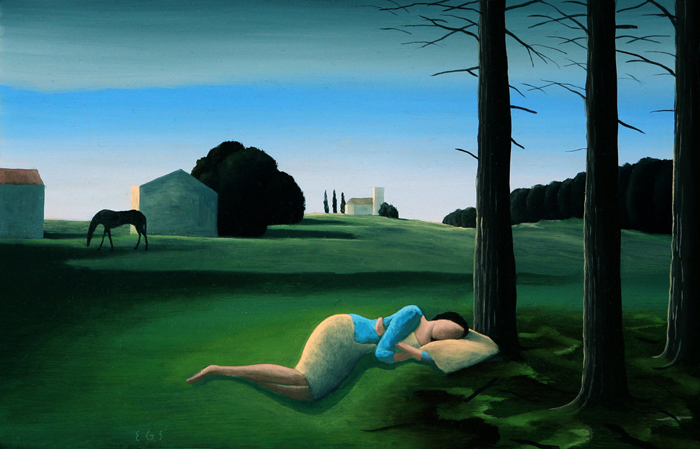 La bella durmiente  - Óleo sobre lienzo -  16x25