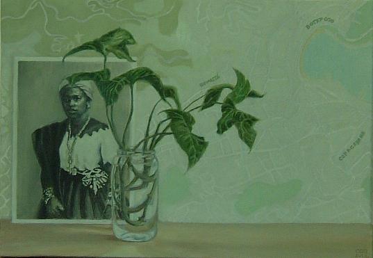 Bahiana y planta (2012). Óleo/lienzo, 39 x 55 cm.
