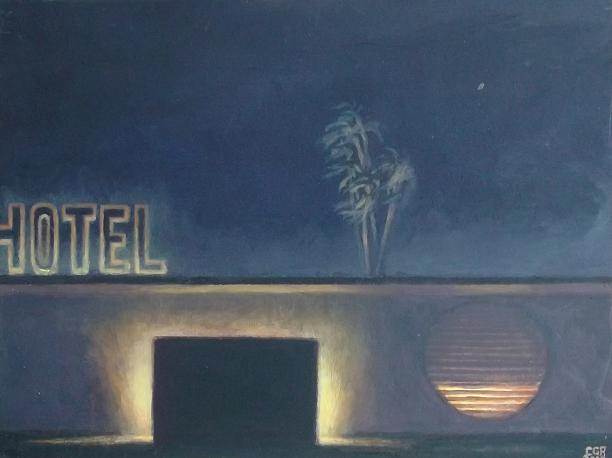 Hotel (2015). Óleo/cartón, 23 x 30 cm.