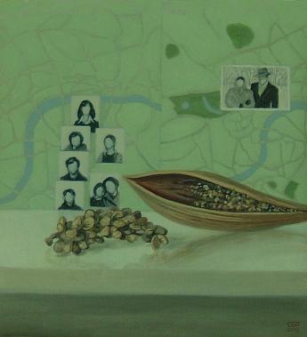Familia y semillas (2012). Óleo/lienzo, 48 x 44 cm.