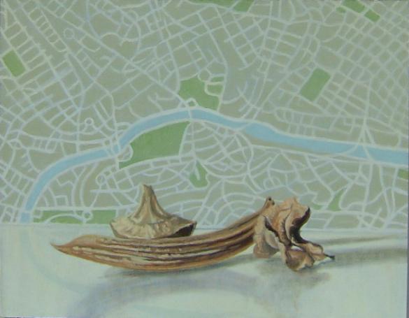 Semillas y mapa de Sao Paulo (2012). Óleo/lienzo, 27 x 35 cm.