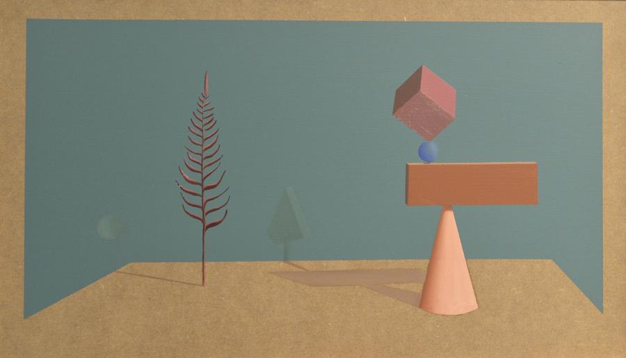 Geometría II, 2016, óleo/tabla, 46x27 cm.