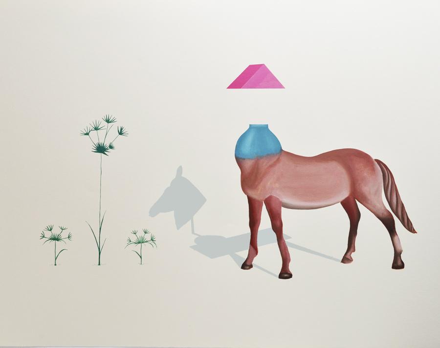 Ilusorio VII, 2016,  Técnica mixta sobre papel, 89x140 cm.