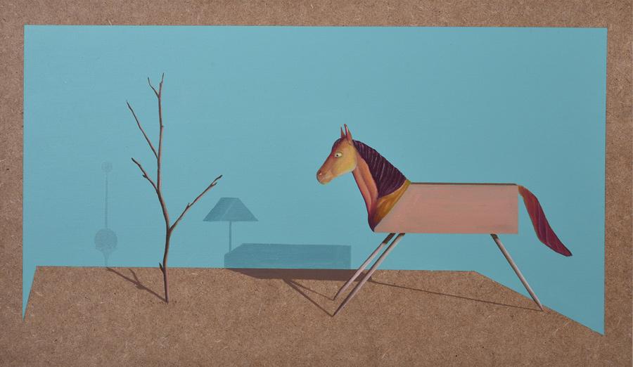 Ilusorio de caballo I - 2016 - Óleo sobre madera. 46x27cm