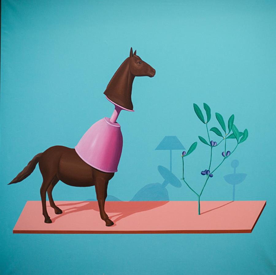 Ilusorio de caballo IV, 2016, técnica mixta sobre papel, 140x90 cm.