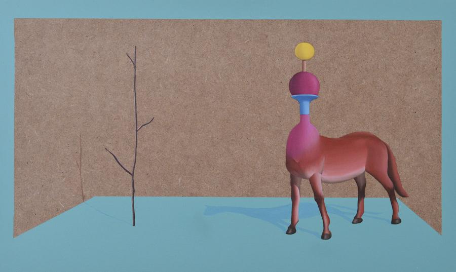 Ilusorio de caballo II - 2016 -  Óleo sobre madera.46x27cm