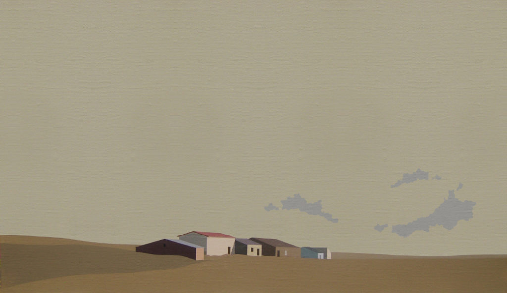 Tres nubes (2016). Acrílico sobre tela, 27 x 47 cm.