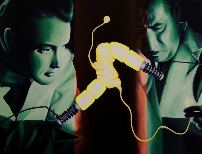 Amor y Electrones (Óleo sobre lienzo 81x60 cm) 2014