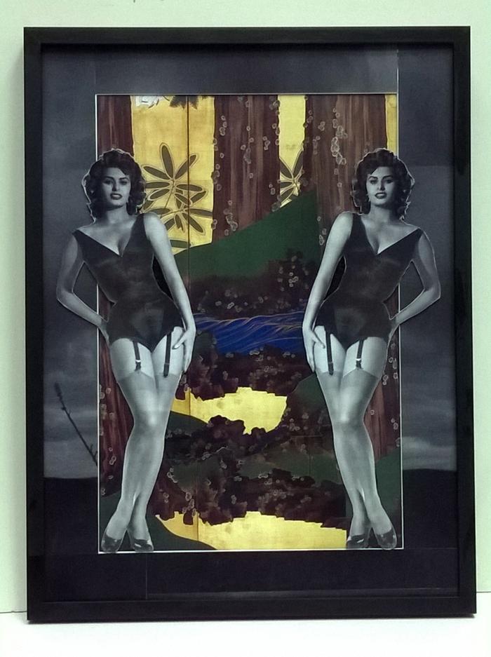Almudena Armenta, Jardín japonés I. 2016 - Técnica mixta y collage fotográfico - 52x68,5 cm.