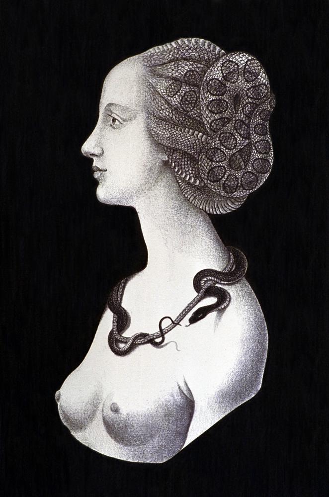 "Marina Núñez, Serie Medusas, 1994, Sin título (siniestro)"". Grafito sobre papel, 110x73 cm."