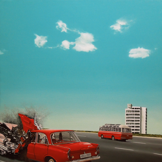 Crash (54x54 cm) Óleo sobre lino, 2018