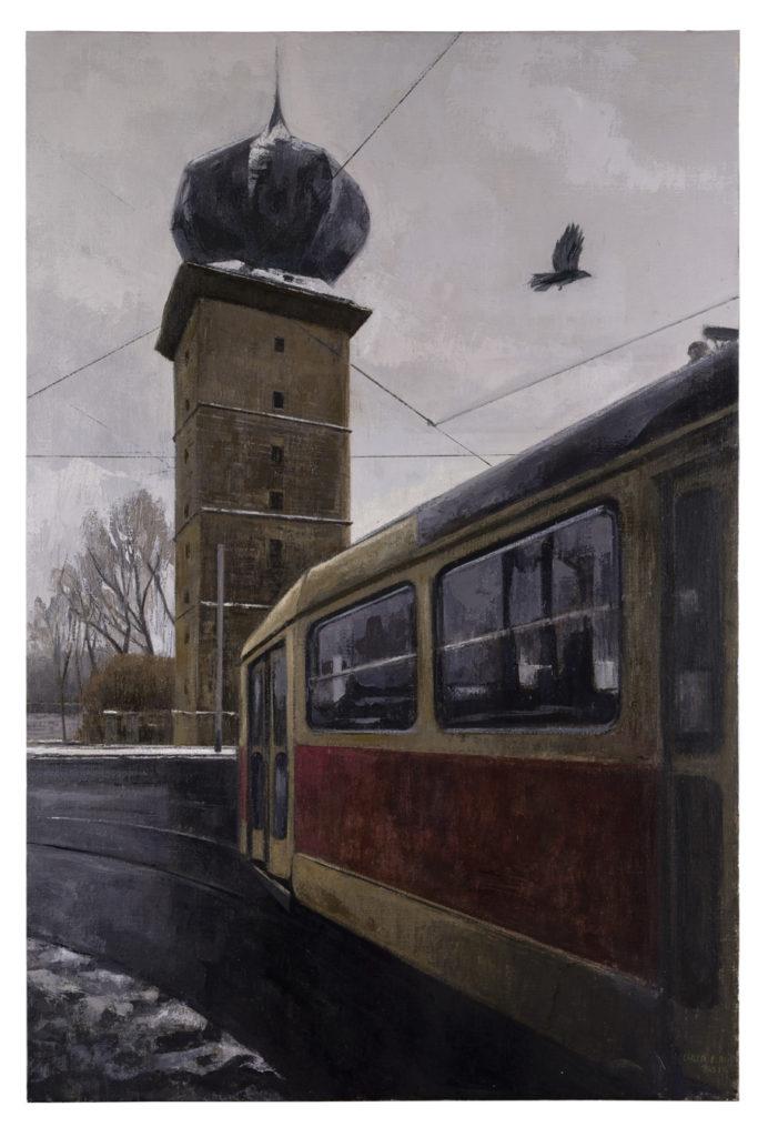 La torre, el Tranvía y la corneja, 2019 Óleo sobre lienzo 120 x 80 cm