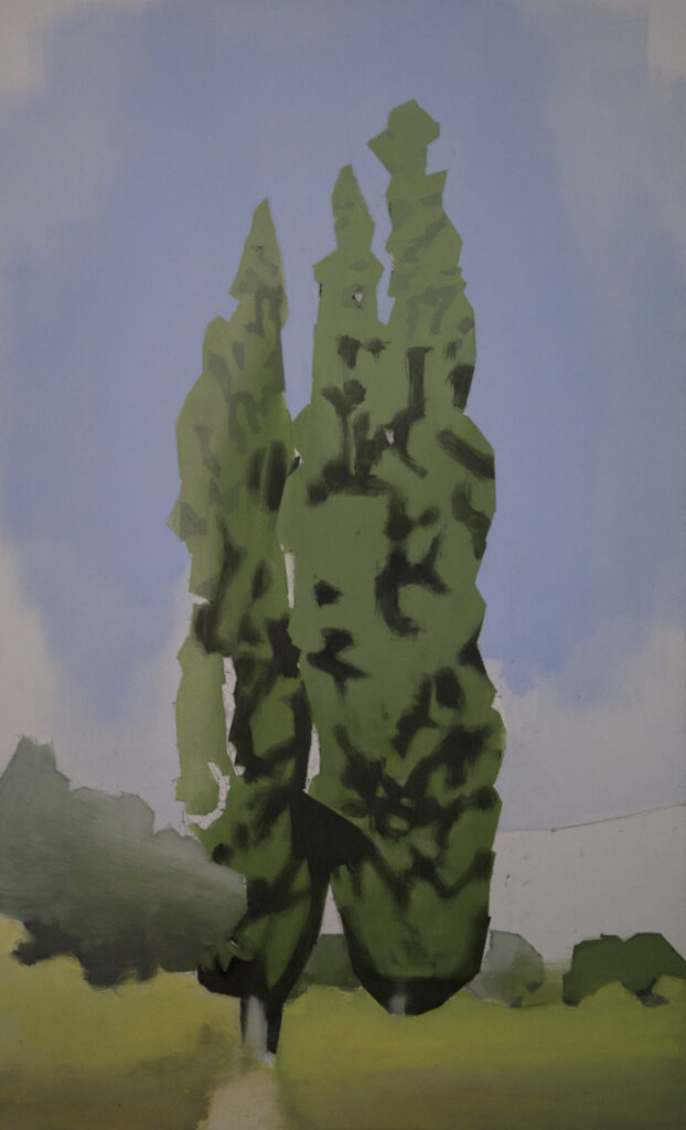 Chopos. Óleo sobre lienzo. 110 x 68 cm.