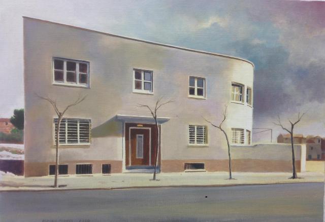 Damián Flores. Casa Cuna , óleo/tela, 31x50 cm.