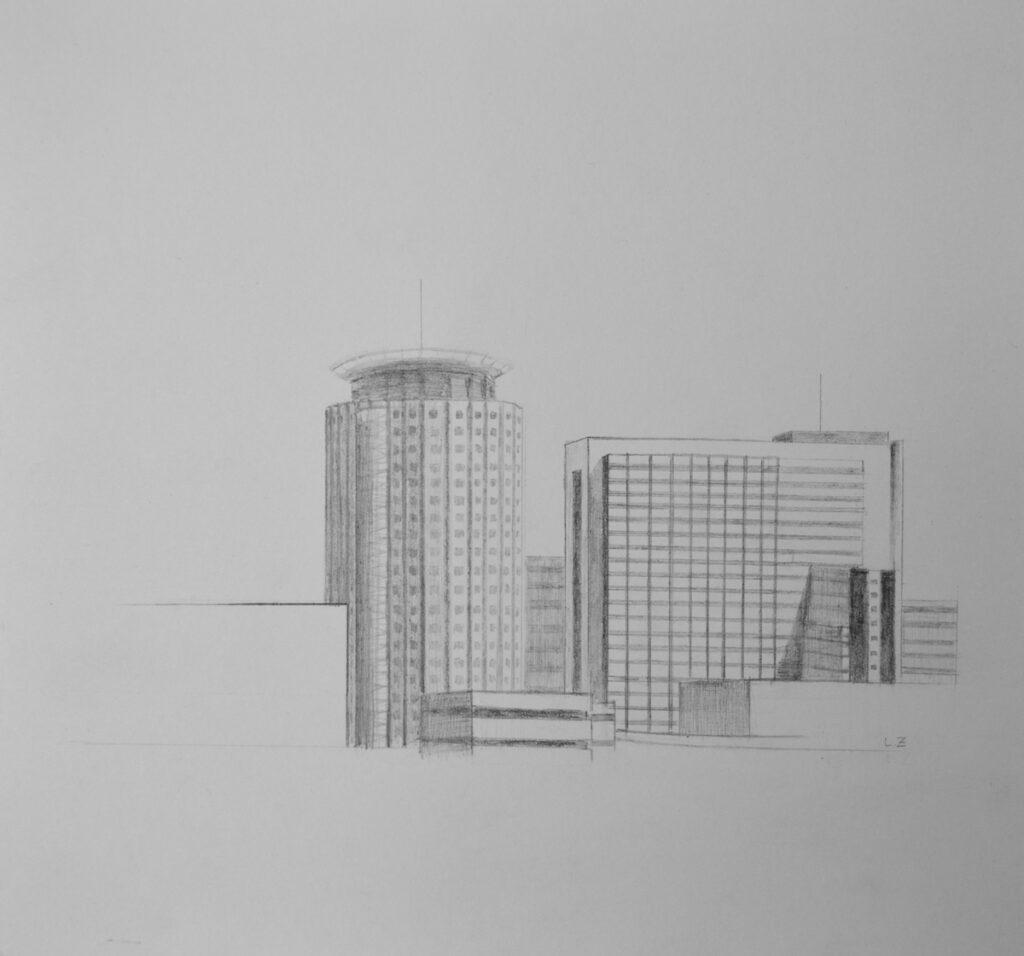 Leticia Zarza. La Paz, 2020, grafito sobre papel, 23x25 cm.