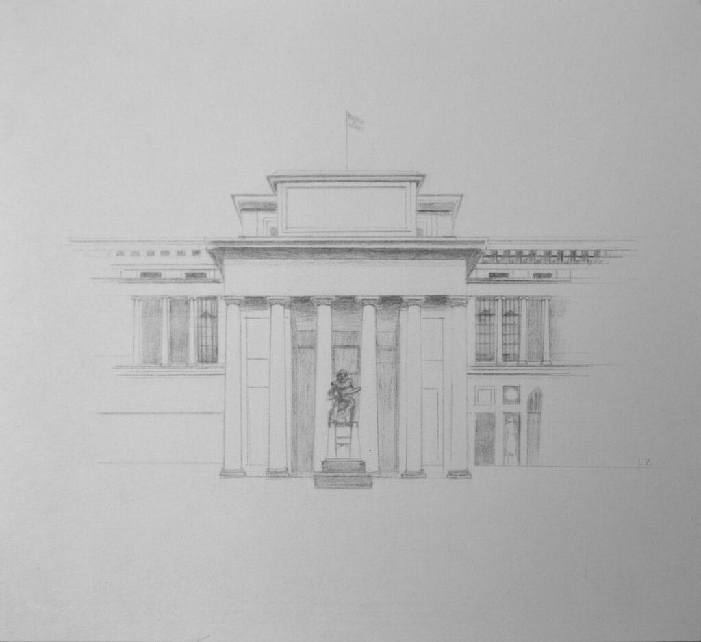 Leticia Zarza. Museo del Prado, 2020, grafito sobre papel, 23x25 cm.