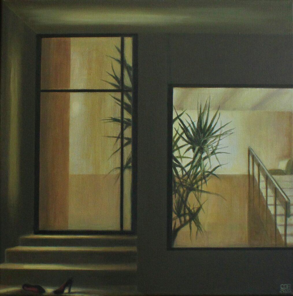 Concha Gómez-Acebo. Noche en Madrid, 2020. Óleo sobre lienzo. 40 x 40 cm.