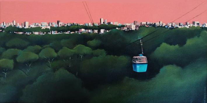 Greta Chicherí. Sobrevolando el Parque del Oeste, 2020. Acrílico sobre lienzo, 40x20cm.