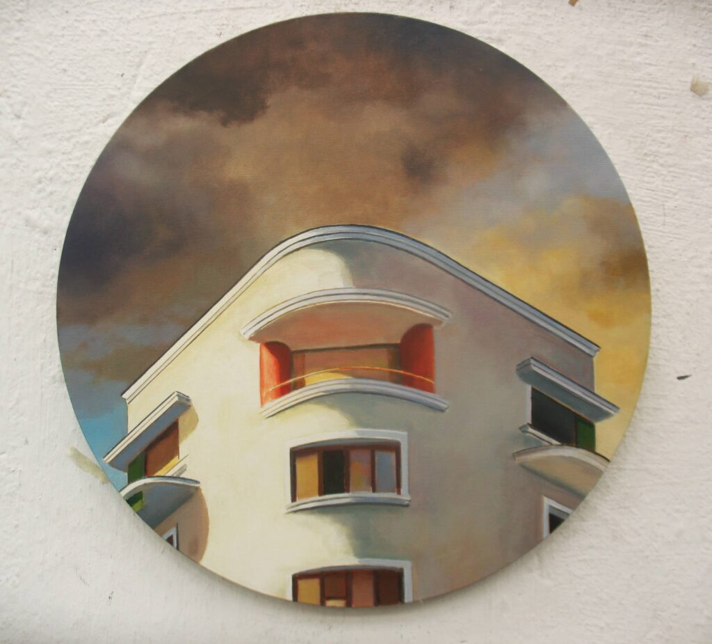 CASA GARCÍA VILLA 50cm.diametro, óleo tela