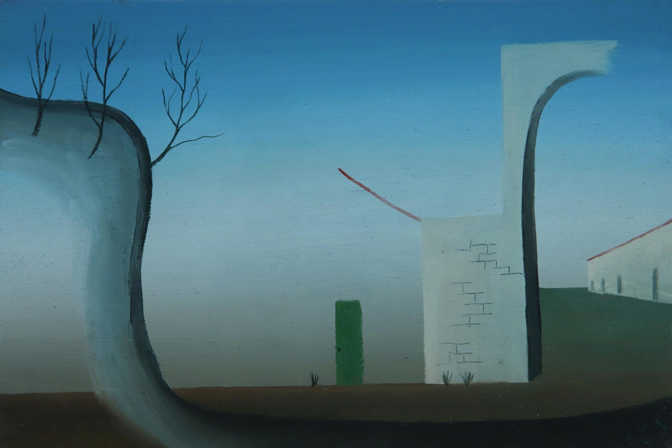 Los arcos. o,tela pegada a cartón. 13x19.2020