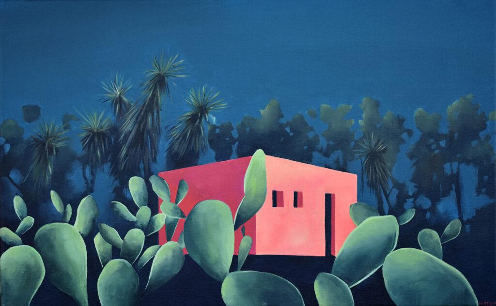 Casa rosa con tuneras Acrílico/lienzo 61 x 38 cm