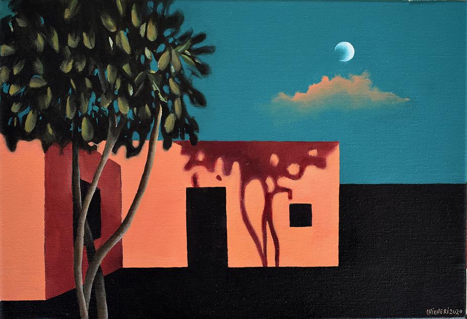 Cuarto creciente Acrílico/lienzo 35 x 24 cm