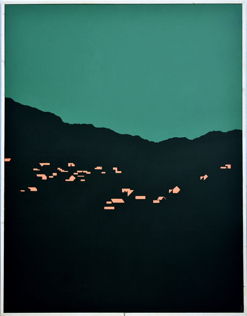 Pueblo nocturno Acrílico/lienzo 146 x 114 cm
