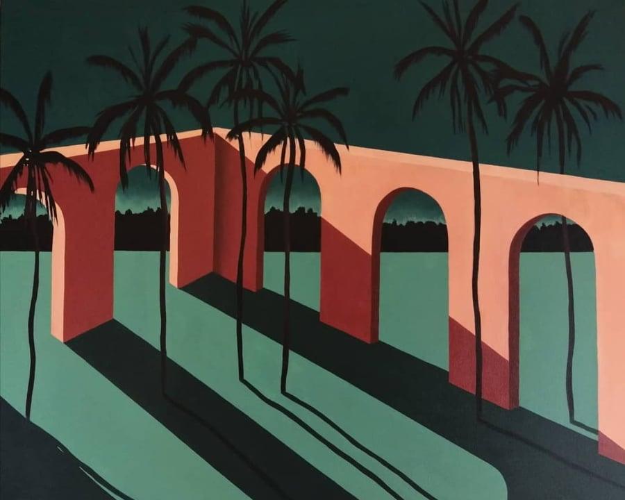 Puente nocturno Acrílico/lienzo 65 x 54 cm