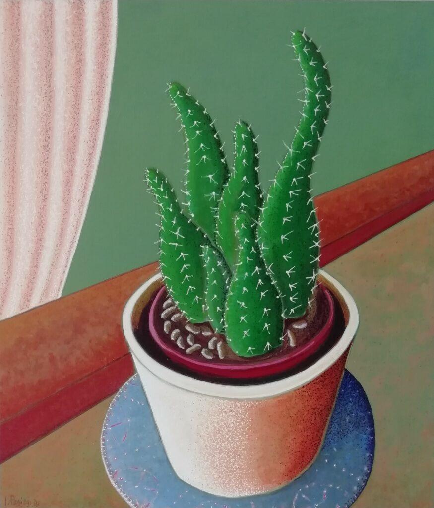 14 El Cactus en mi ventana 20.Acrílico sobre Tabla. 25x22 cm, sm.