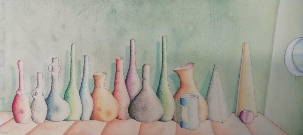 16 Del Rosa al Amarillo Barros,20. Acuarela,tinta,lápices,Papel Papeki. 56,5x 25,5 cm,sm.