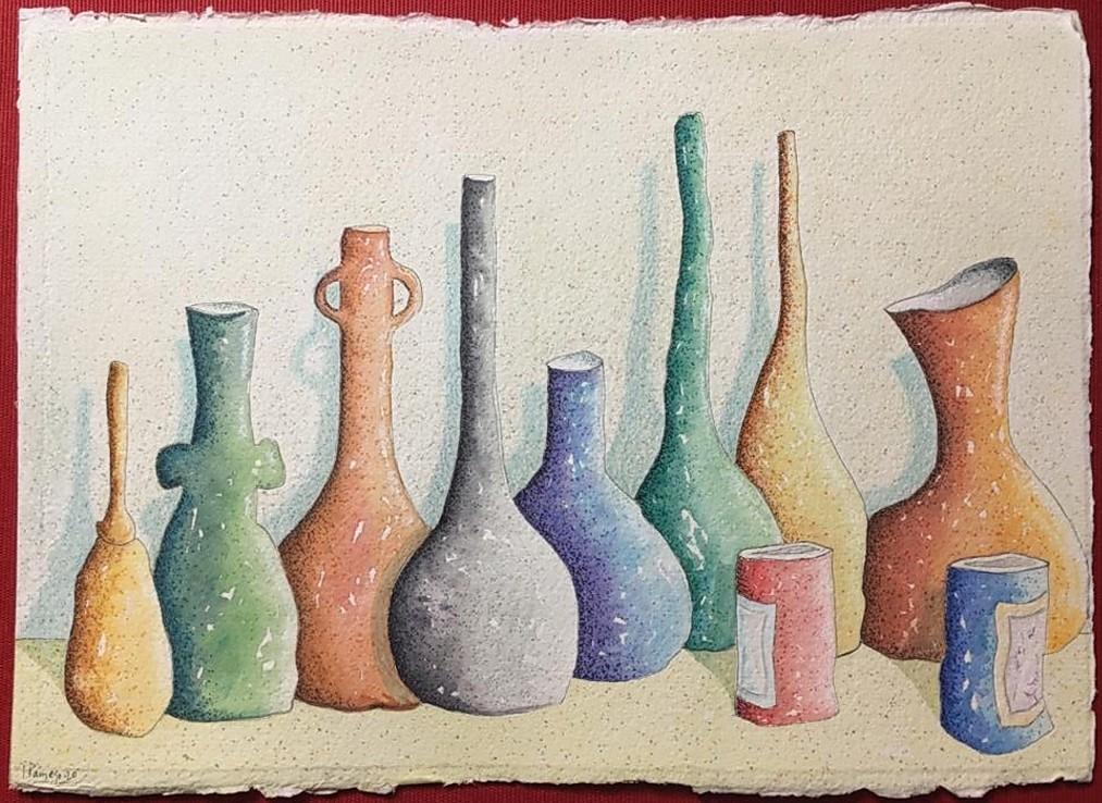 """17 """"Bodegón III """"20.Acuarela,plumilla,Papel Paperki, hecho a mano. 31x21 cm, sm."""